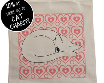 Cat and Pink Hearts Tote Bag - Cute Cat Tote; gift for cat lovers