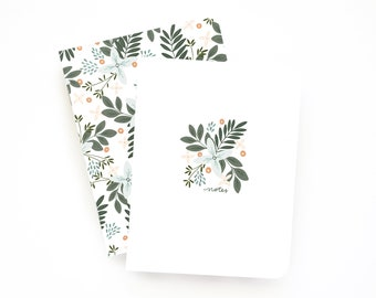 Pocket Journal Set of 2 | Illustrated Small Notebooks with Lined Pages: Morning Blooms Pocket Journal Set