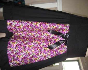 sequoia Black,purple,yellow floral,fruits Longer Length  Skirt,Punk,Goth,rock,emo lolita All sizes