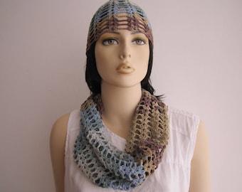 Set. Summer hat + scarf. Crochet.