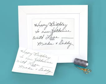 Actual writing - Loss of mother - Custom handwriting gift  - Death of loved one - Your handwriting embroidered - Actual handwriting keepsake