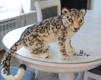 CUSTOM ORDER!Handmade Poseable toy Snow Leopard. Leopard plush .Stuffed  Leopard.Leopard toy. Leopard Soft Sculpture.Stuffed toy.Plush toy.