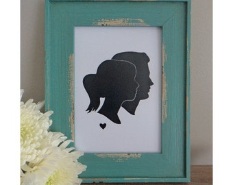 Custom Silhouette (from your photos) - Digital File - print yourself - Double Profile Portrait with small heart - Anniversary Gift