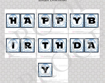 Robot theme  Space Party  Birthday Banner - INSTANT DOWNLOAD