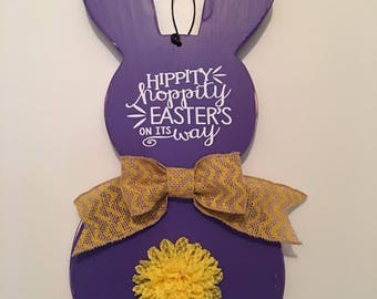 Wooden | Bunny Shaped | Purple | Hippity Hoppity Easter's On It's Way | Door Sign | Wall Decor | FREE SHIPPING