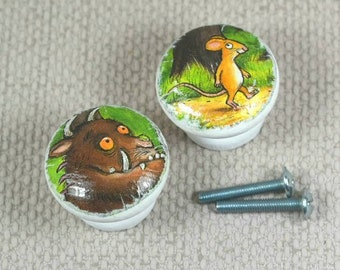 The Gruffalo & other Characters Handpainted Knobs, Wooden Knobs, Drawer Handles, Dresser Knobs, 3.5cm dia. Free Gift Wrapping!
