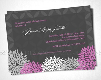 Flowers Elegant Shower Invitation - Purple - DIY Printable