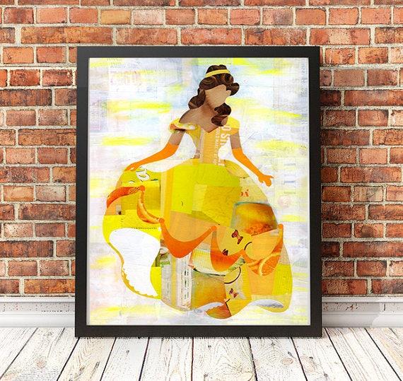 Beauty and the Beast Art Print Belle Wall Art Princess