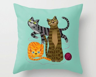 "Three Cool Cats - Throw Pillow / Cushion Cover (16"" x 16"") iOTA iLLUSTRATION"