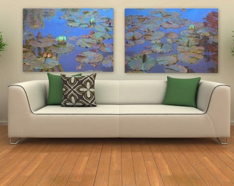Original painting . Water lilies. / 200-70cm. diptych