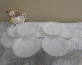 Rare MacBeth-Evans Oxford Saucers Plates Set of 7 Corning Ringed Base Milk Glass Circa 1940's Vintage Scalloped Ruffled Edge Monax Cremax