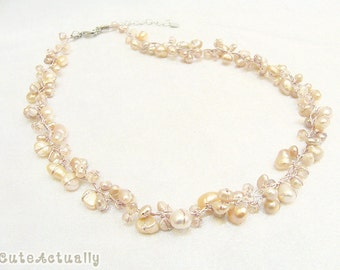 Pink freshwater pearl necklace with crystal on silk thread