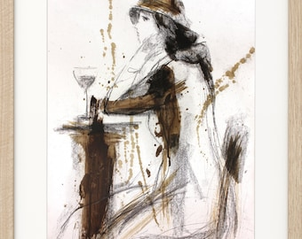 Woman drawing, Original Charcoal Sketch, Woman sketch, Glass of wine, Figurative drawing, Graphic art, Modern artwork, Wall art Decor sketch