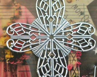 Brass Filigree Cross Stone Wrap, Sterling Silver Finish, brass stampings, decorations, Craft Supplies by Calliopes Attic