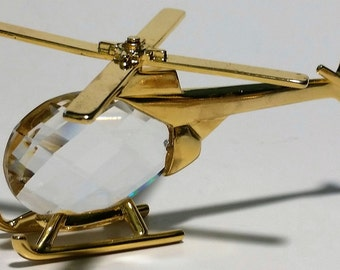 Crystal Helicopter Figurine Handcrafted By Bjcrystalgifts Using Swarovski Crystal