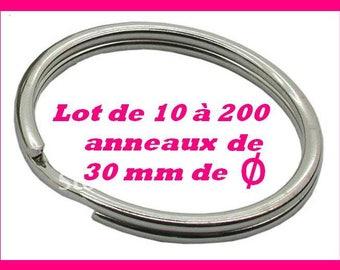 Set of 100 rings key chain METAL silver 30 mm split ring key rings keychain