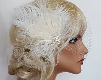Bridal Headpiece,  Fascinator and Veil Set,  Feather Fascinator,  Wedding Hair piece,  Bridal Accessories,  Ivory Gold Headpiece,  Hair Clip
