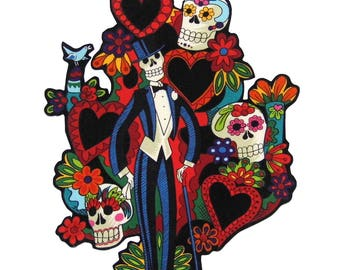 Tree of Life - Patches - TShirts - Mexican Folk Art - Iron On Patch - Day of the Dead - Tote Bag - Large - Pillow - Novio - Groom - Skull