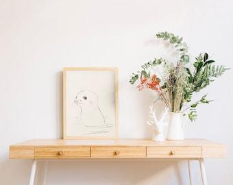 Baby seal drawing  - nursery art