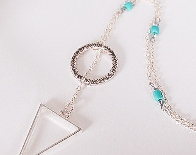 Silver Calypso Lariat with Turquoise Beads, Triangle jewelry, Long necklace, Beaded jewelry, Gift for her