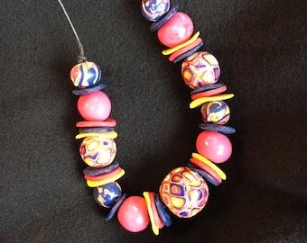 Handmade Necklace using handmade polymer clay beads