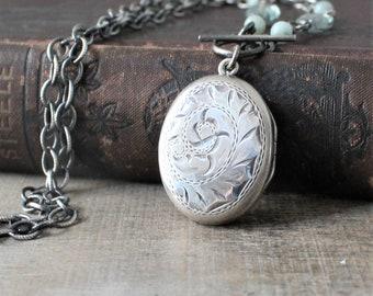 Silver Photo Locket, Sterling Silver Locket Necklace, Vintage Birks Locket Pendant, Push Gift, Keepsake Locket, Oval Locket, Chunky Chain