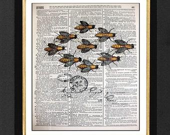 French Bee Art Print  Honey Bee Art Prints, Honey Bee,Mixed Media Size 8x10 Vintage Dictionary Page Art Prints, Honey Bee Pictures, Bees