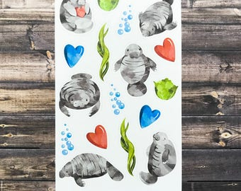 manatee kid's stickers, manatee stickers, party favors, stocking stuffers