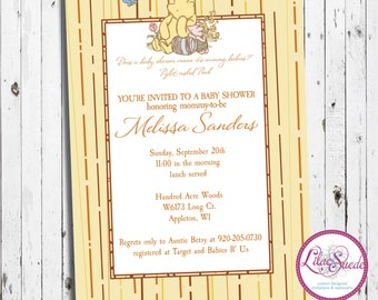 Winnie the Pooh rustic baby shower invitation - DIY - PRINT YOURSELF or purchase prints