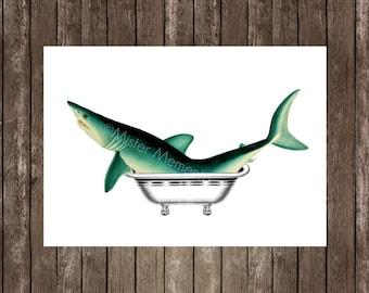 bath shark art print - shark illustration, shark giclee on 5x7, 8x10 or a4, blue shark
