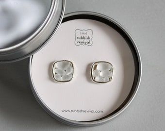 Sea Glass & Silver Mosaic Earrings in White - Seaglass Post Earrings with white sea glass