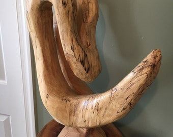 "Sycamore Chainsaw Carving Abstract 21"" x 16"" x 8"""