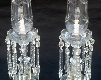 Rare Pair Heavy Antique Crystal Hurricane Lamps, Arrowhead Prisms,  Electrified, Working