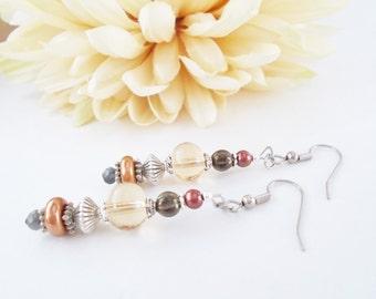 Boho Beaded Earrings Dangle Earrings Sterling Silver Earrings, Mothers Day Gift, Bohemian Jewelry Clip On, Copper Anniversary Gift for Wife