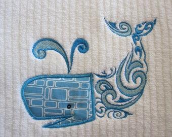 Machine Embroidered Bath Towel.   Blue Whale Applique