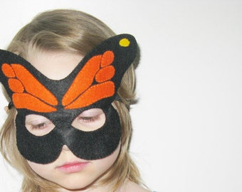 Butterfly felt Mask - Black Orange - kids carnival costume - gift for girls - soft Dress Up play accessory - Theatre roleplay