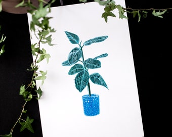 Stripy Leaf Gouache A4 / A5 Art Print