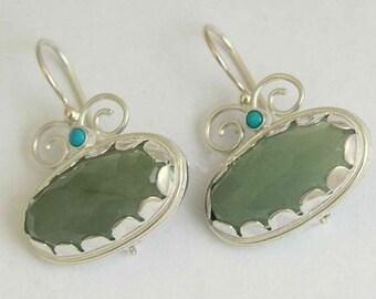 Green jade earrings, Sterling silver earrings, turquoise earrings, gemstone earrings, green stone earrings, oval earrings - Sweet love E7754