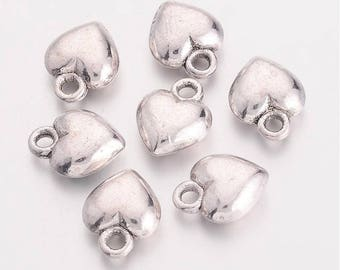 Heart Charms Antiqued Silver Puff Heart Charms BULK Charms Wholesale Charms 50 pieces 13mm