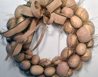 Burlap Easter Egg Wreath--New Sale Price