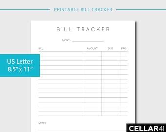 Monthly Bill Tracker, Printable Budget, Financial Planner, Organizer, Expense Tracker, Bill Payment Checklist, Minimalist, INSTANT DOWNLOAD