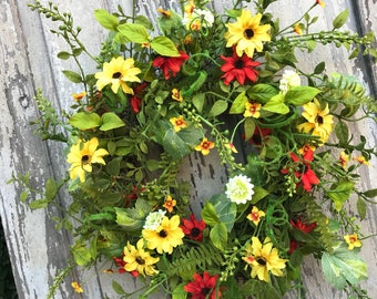 Spring summer wreath,Whimsical Spring Wreath,Spring Wreath, Spring Door Wreath, Summer Wreath, Summer Door Wreath, Summer Wreaths for door