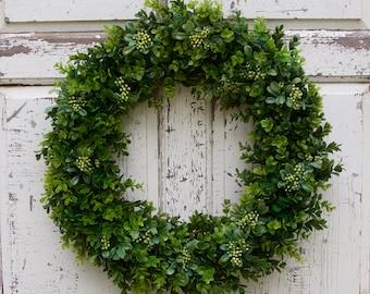 Boxwood Wreath, Greenery Wreath, Everyday Wreath, Year Round Wreath, Farmhouse Decor, Boxwood Door Wreath, Natural Wreath