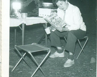 1958 Camp Woman Reading Household Magazine by Lantern Camping 50s Vintage Photograph Black White Photo