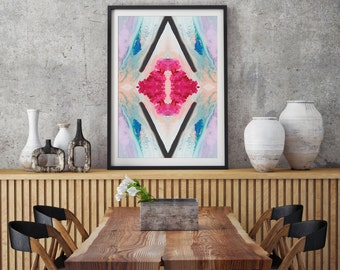 Fluid art print, abstract geometric print, pink wall art, modern home decor, abstract wall print, boho art print, diamond print, magenta