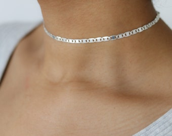 Delicate Silver Choker - Silver Chain Choker - Silver Necklace - Minimalist Jewelry - Bohemian Necklace - Layering Necklace