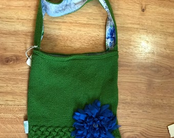 Green sweater purse blue flower