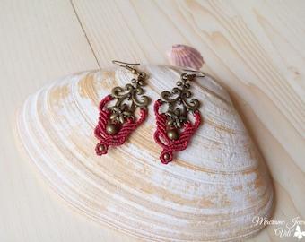 Bordeaux Macrame Earrings, Antique Brass Earrings, Micro Macrame Boho Jewelry, Lightweight Earrings, LARP Jewelry