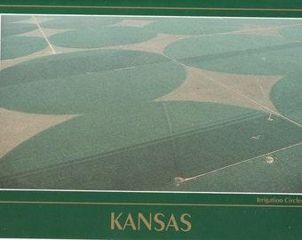 Vintage 1980s Postcard Kansas Wheat Harvest Farming Crop Circles Agriculture Farm Rural Photochrome Era Postally Unused
