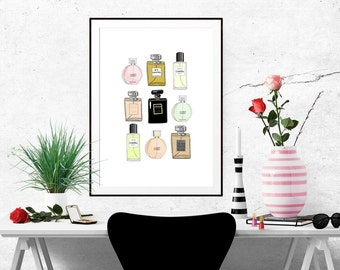 Chanel Perfumes X 9 Fashion Illustration Art Poster